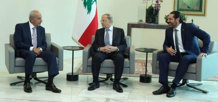 الرئيس عون يلتقي بري والحريري في قصر بعبدا